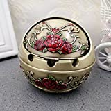 Znzbzt Cover with stylish and creative personality trend-ashtray living room small retro ashtray, Tsing ancient roses [9.58.5-