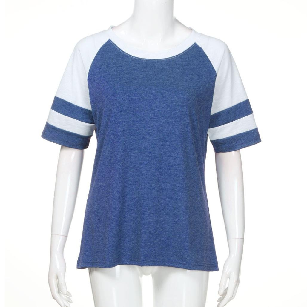 Syban T Shirt Fashion Women Ladies Short Sleeve Splice Blouse Tops Clothes (EU-36/CN-M, Blue) by Syban (Image #3)