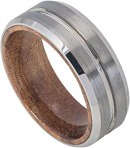 Mens 9mm Stepped Edge Wedding Band Multi Grooved Flat Brushed Center Comfort Fit Tungsten Carbide Anniversary Ring