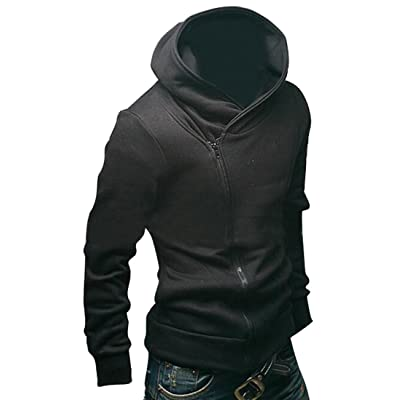 MLG Mens Autumn Oblique Zip Pullover Hooded Sweatshirts