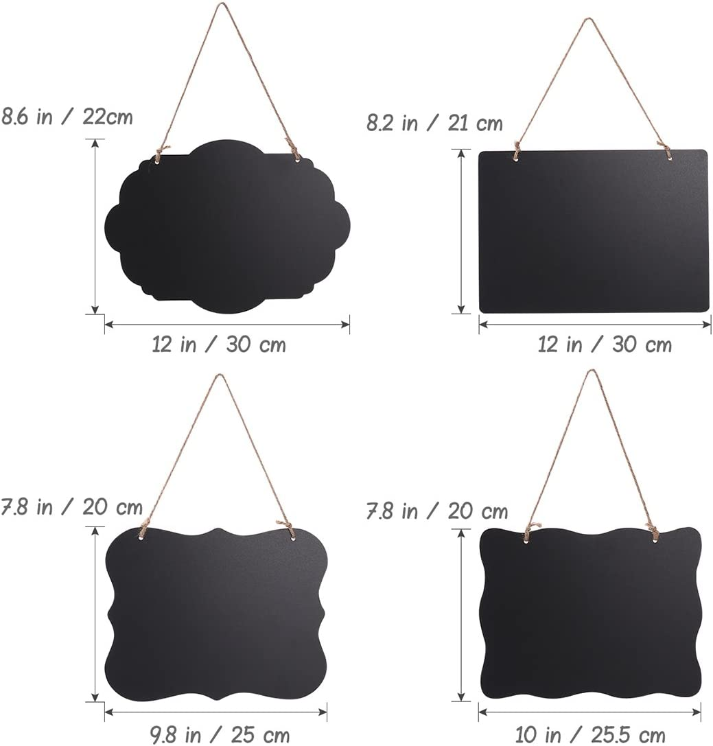 Chalkboard Sign Double-Sided First Day of School Board with Hanging String, 4 Pack
