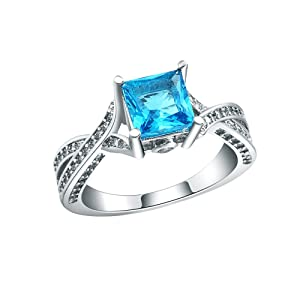Women's Blue CZ Cublic Zircon Full Crystal Finger Ring Party Engagement Wedding Jewelry US 6.7.8.9