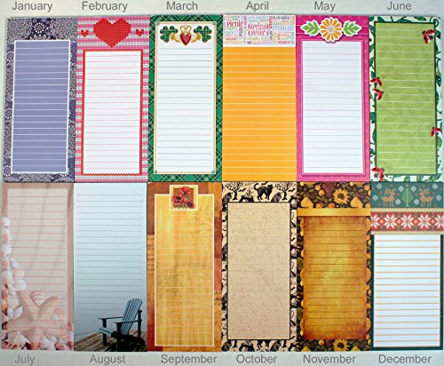 Creative Hobbies Magnetic Memo Note Pads, Seasonal Monthly Themes, Set of 12 Pads (1 Complete Year) (Fridge Memo Pad)