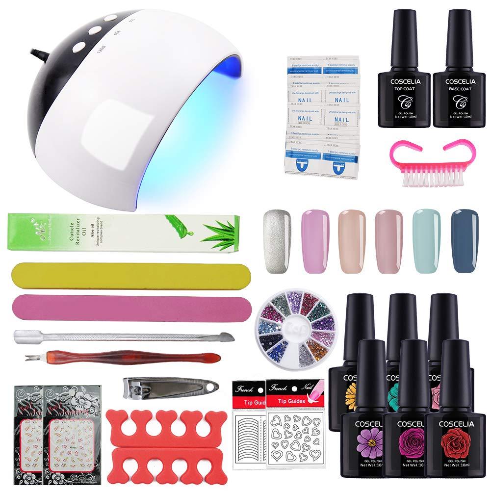 Coscelia Gel Nail Starter Kit Gel Nail Polish 6pcs Colour Gel 10ml, Top and Base Coat Set UV LED Nail Lamp Manicure Tools FASHION GALLERY FR-1412-K
