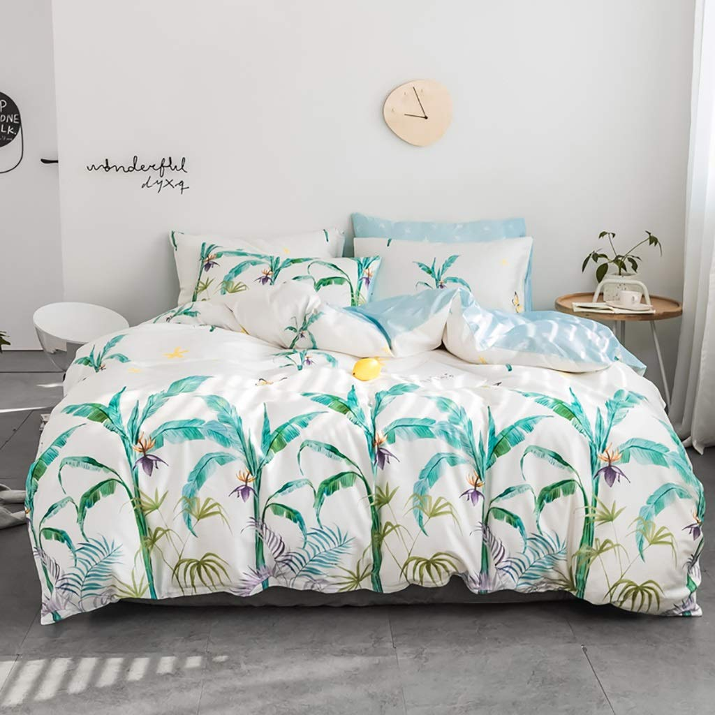 Banana Leaves Bedding Duvet Cover Sets for Boys Girls Tropical Tree Fronds Bedspread Coverlet 100% Cotton Green Monstera Plant Pattern Printed On White NO Comforter (Size : Full/Queen)