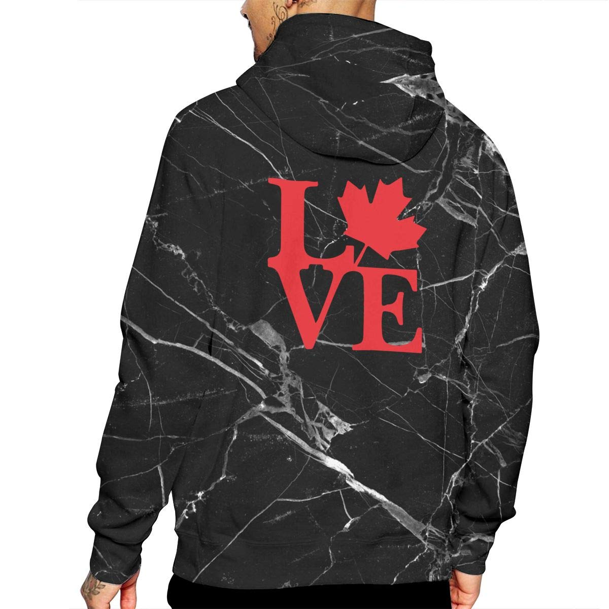 Mens Love Canada Pullover Hoodie Comfortable Cotton Fleece Hoodie with Pocket for Men