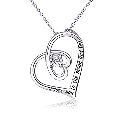 CELESTIA 925 Sterling Silver Necklace for Women ''SWEET ANGEL'' Pendant 18'' Rolo Chain Best Gift for Lovers Girls Gifts Jewellery oWm6t3