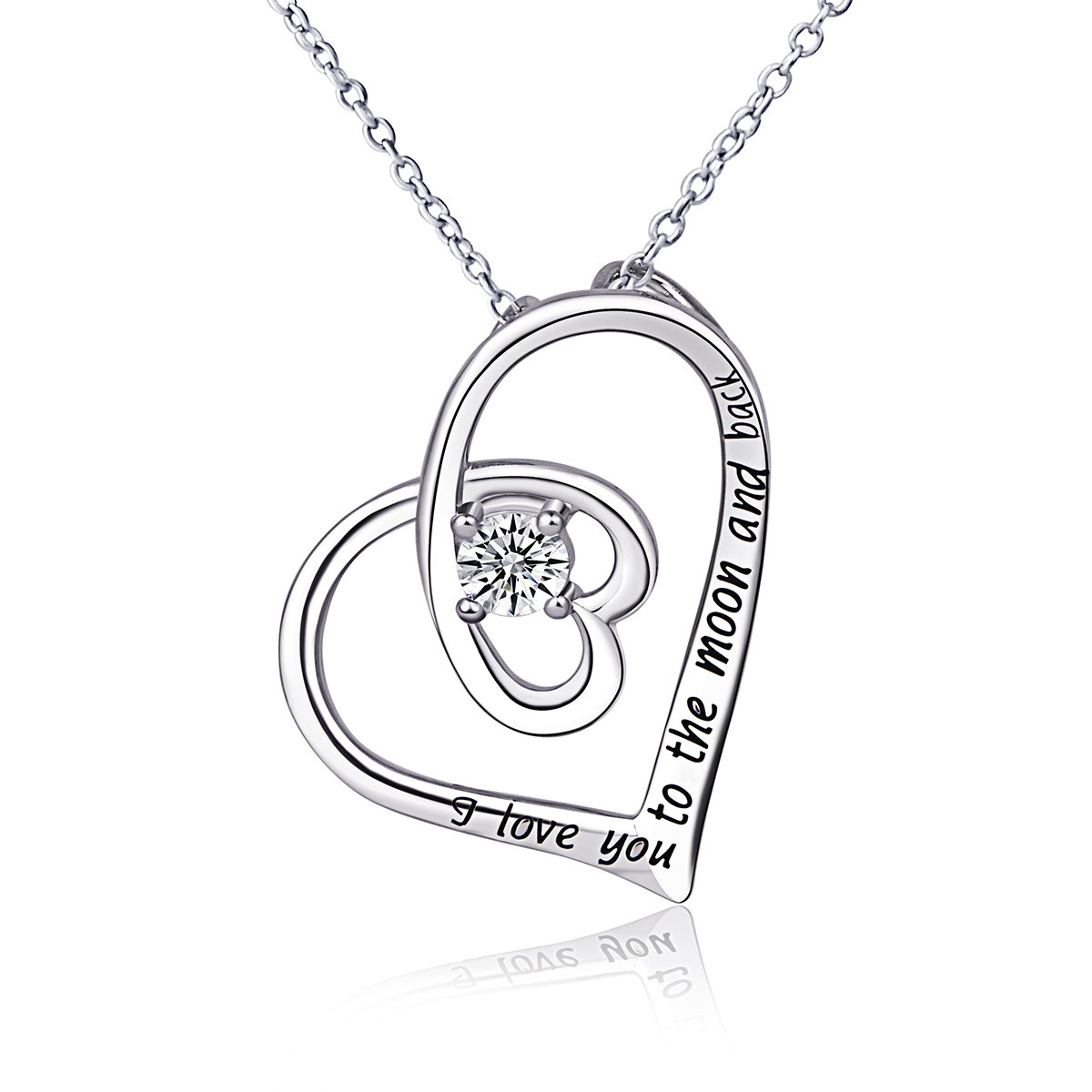 Sterling Silver ''I LOVE YOU TO THE MOON AND BACK'' Heart Pendant Necklace 18 inch