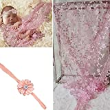 Girl Infant Newborn Baby Lace Cocoon Swaddle Wrap Blanket + Flower Headband Photo Prop Pink