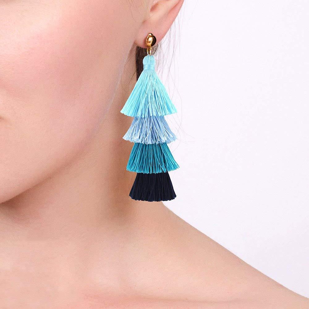 Tassel Tiered Earrings Handmade 4 Layers Elegant Thread Drop Dangle Women Girls Jewelry