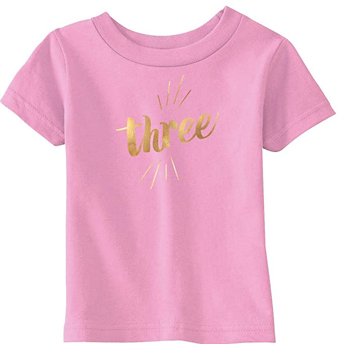 Crazy Dog Tshirts Toddler Three Years Old Gold Shimmer Application Cute Birthday T Shirt