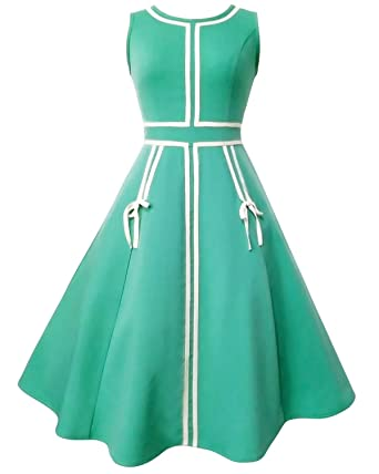77403c7f81d39b ZAFUL Women's 50s Vintage Floral Sleeveless Dress Spring Garden Swing Party  Picnic A Line Cocktail Dress (XL, Green): Amazon.co.uk: Clothing