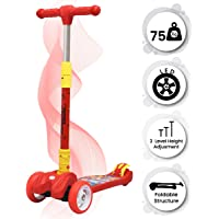 R for Rabbit Road Runner Scooter for Kids of 3 to 14 Years Age 3 Adjustable Height, Foldable, LED PU Wheels & Weight Capacity 75 kgs Kick Scooter with Brakes(Red)