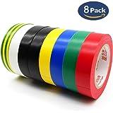 ビニールテープ,HoryKu(ホーリク) 8卷7色入電気絶縁テープ ハーネステープ 耐熱 テープ 15mm x 15m