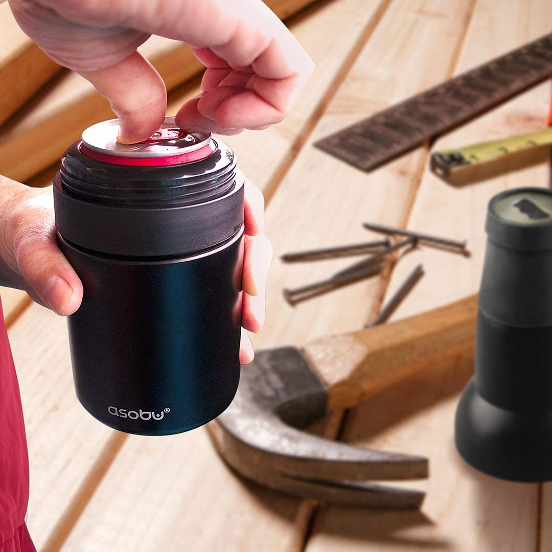 Black//Copper//Silver Asobu Frosty Beer 2 Go Vacuum Insulated Double Walled Stainless Steel Beer Bottle and Can Cooler with Beer Opener