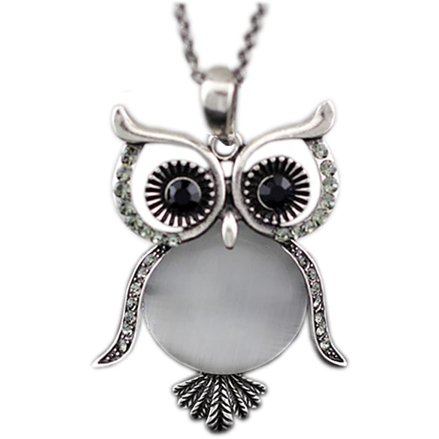 Latigerf Women's Lucky Vintage Owl of Night Pendant Necklace and Long Chain Vintage Created-opal