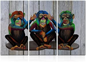 LoveHouse 3 Pieces Funny Gorilla Wall Art Modern Monkey Animal Canvas Print Wooden Background See Hear Speak No Evil Ape Chimpanzee Painting Artwork Decor for Kids Room Living Room Stretched 16x32inchx3pcs