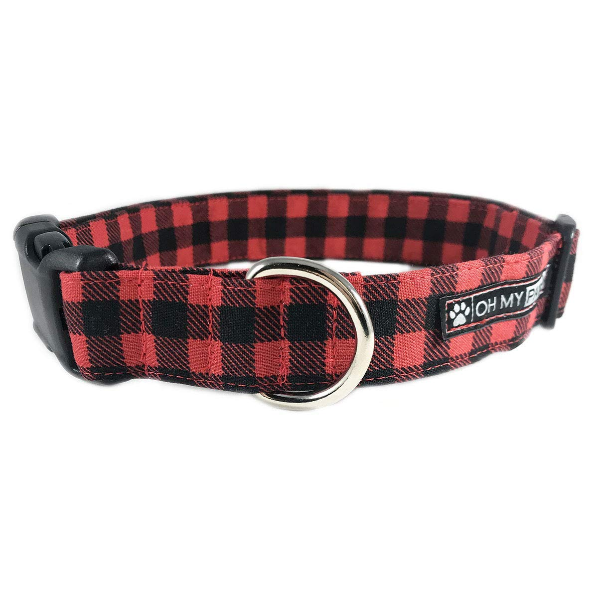 Red & Black Buffalo Plaid Dog or Cat Collar for Pets Size Medium 3/4