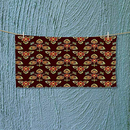 Nalahome Fast Dry Towel Floral Arabesque Islamic Pattern in Vibrant Colors Artsy Image Gold Chestnut Brown Excellent Water Absorbent Antistatic L35.4 x W11.8 inch by Nalahome