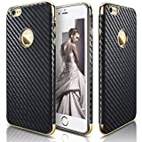 iPhone 6s case, iPhone 6 Case, LOHASIC Ultra Slim [Carbon Fiber] Premium leather Anti-Slip [Flexible & Soft] Shockproof Electroplated Bumper Cases Cover for Apple iPhone 6s & iPhone 6 - Carbon Fiber