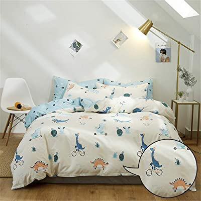 MICBRIDAL Kids Dinosaur Bedding Set Twin Ultra-Soft White Cotton Duvet Cover with Zipper Closure Super Cute Dinosaur Comforter Set(1 Dinosaur Duvet Cover+2 Pillowcases) with 4 Corner Ties(NO Comforter: Home & Kitchen [5Bkhe0407040]