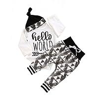 Newborn Baby Boys Fashion Letter Print Romper Drawstring Long Pants Cap Outfits