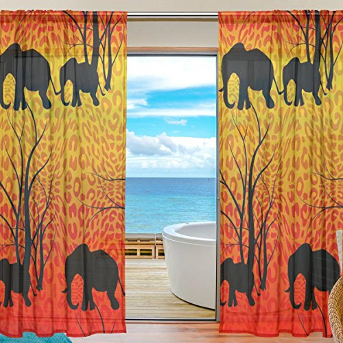 SEULIFE Window Sheer Curtain, Elephant Tree Tiger Leopard Print Pattern Voile Curtain Drapes for Door Kitchen Living Room Bedroom 55x78 inches 2 Panels by SEULIFE