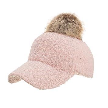 77e5d73efc7 Amazon.com  Fheaven Women Ladies Winter Hat Men Pompom Warm Artificial Wool Snow  Ski Caps With Visor (Pink)  Beauty