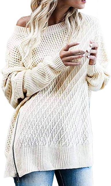 Women Solid Long Sleeve Knit Pullover Crochet Sweater Loose Knitwear Coats
