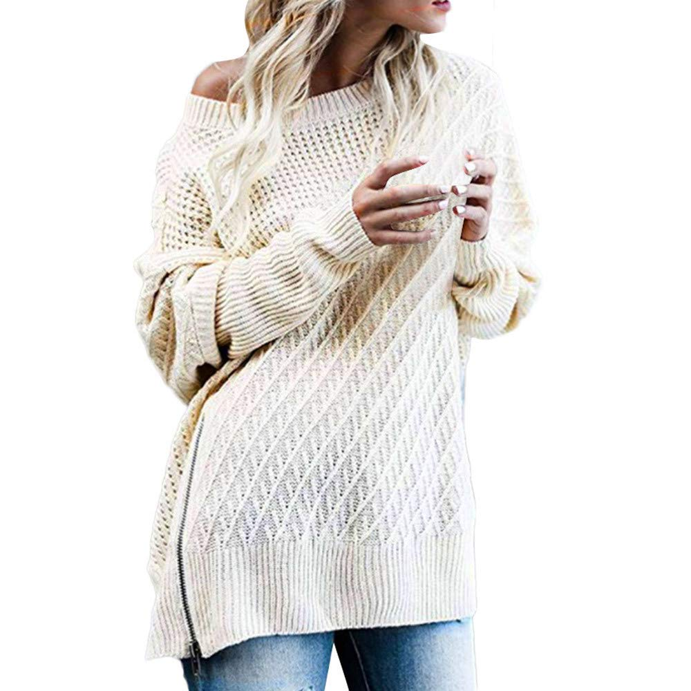 KaiCran Fashion Off Shoulder Knit Irregular Sweater Long Sleeve Pullover Baggy Solid Tops Sweater (Beige, L)