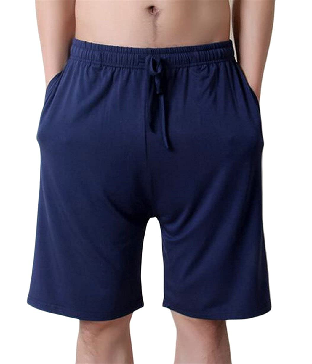 RRINSINS Mens Leisure Cozy Pure Color Elastic Waist Home Wear Short Pants