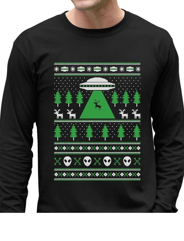 Amazon.com: UFO Alien Reindeer Abduction Ugly Christmas Sweater ...