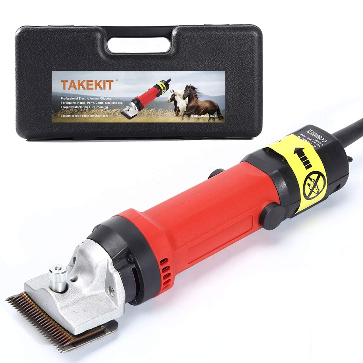 TAKEKIT Horse Clippers Professional Electric Animal Grooming Kit for Horse Equine Goat Pony Cattle and Large Thick Coat Dogs, 6 Speeds Heavy Duty Farm Livestock Haircut Trimmer, 380W by TAKEKIT