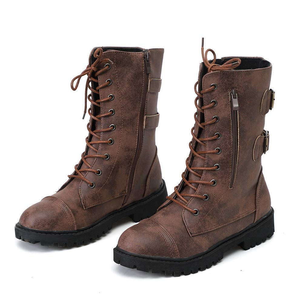 Realdo Women Martin Boots Mid Calf Combat Booties Military Shoes