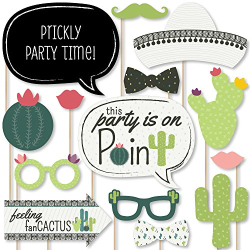 Big Dot of Happiness Prickly Cactus Party  Fiesta Party Photo Booth Props Kit  20 Count