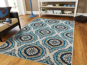 Luxury contemporary rugs for living room blue for Dining room rugs 5x7