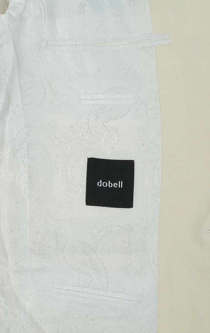 Dobell Herren Smoking-Anzug Wei/ß Zweiteilig Slim Fit Steigendes Revers Schwarzer Hose