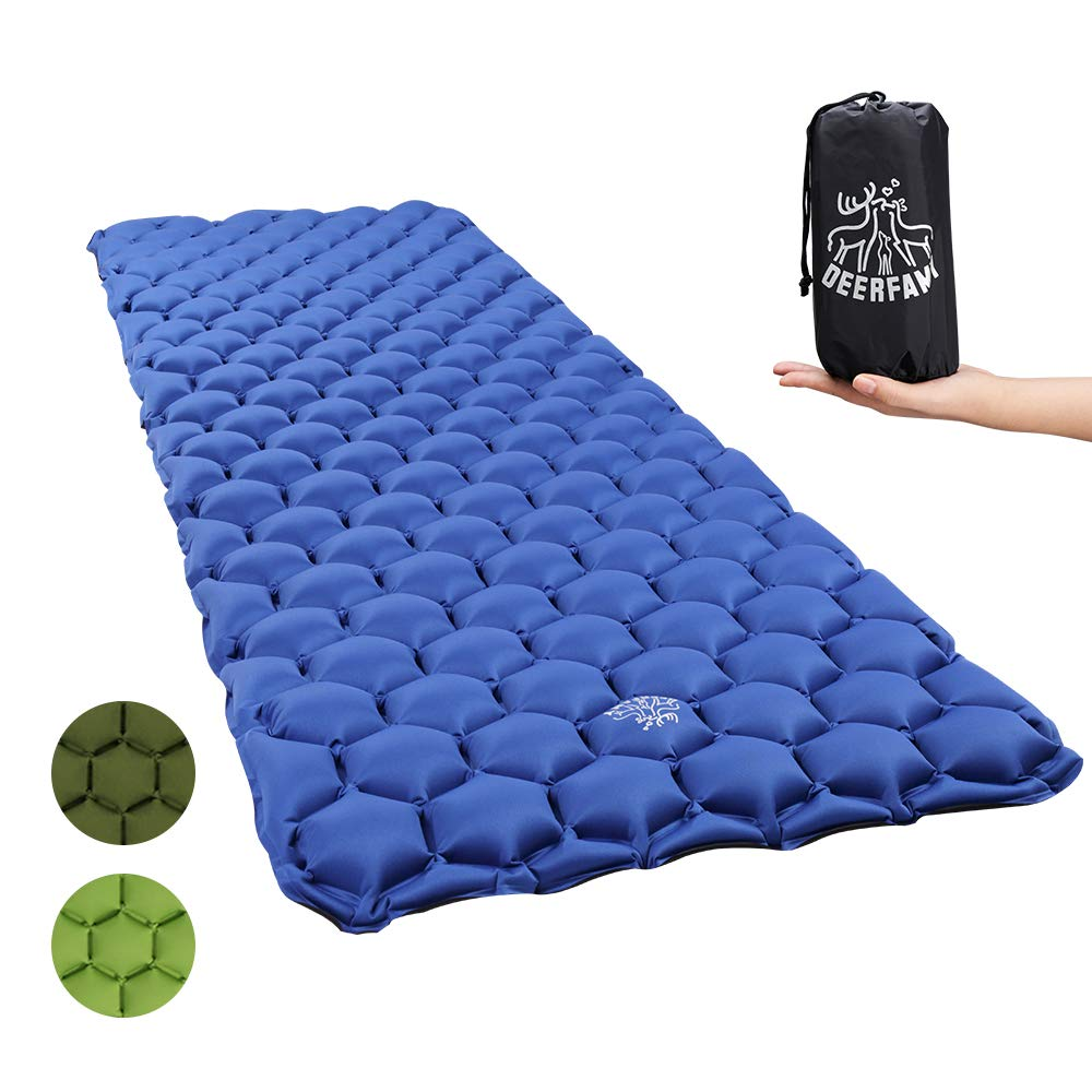 DEERFAMY Camping Inflatable Sleeping Pad, Backpacking Inflating Sleeping Pad Lightweight Compact Portable by DEERFAMY