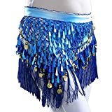 MUNAFIE Belly Dancing Belt Colorful Waist Chain Belly Dance Hip Scarf Belt Triangle Skirt (Navy)