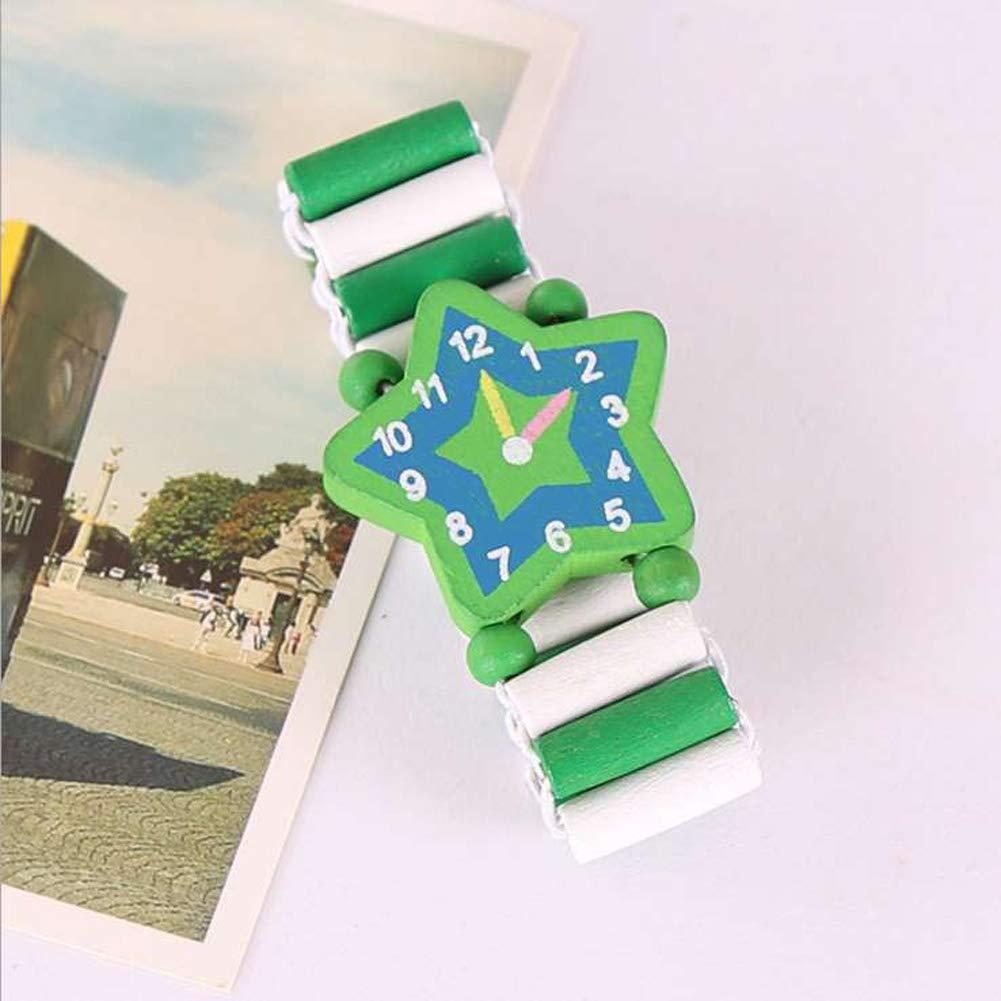 travaux manuels Montres Bracelet Cadeau danniversaire pour Enfants Babys Student UxradG Dessin anim/é en Bois Montre d/Émulation Jouets
