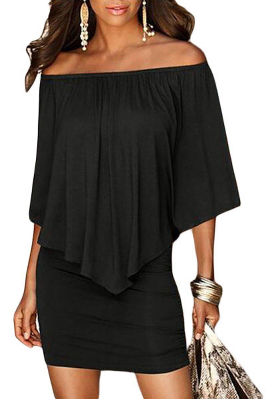 Amborido Women Off Shoulder Ruffles Bodycon Mini Dress
