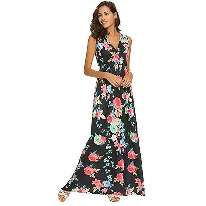 a8e1655a464c Donna Senza Maniche Elegante Casual Vestito Lungo Stampa Scollo A V ...