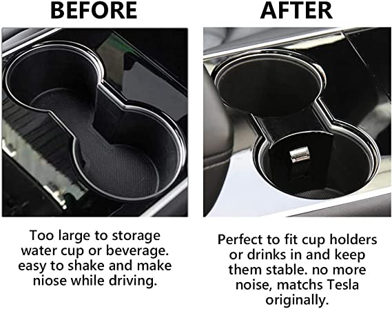 Water Cup Slot Stabilizer Clip Non-Slip Cup Holder Interior Trim Center Console Easy On Off CALIDAKA Cup Holder Limiter Insert for Tesl-a Model 3 and Model Y 2017-2020 Accessories
