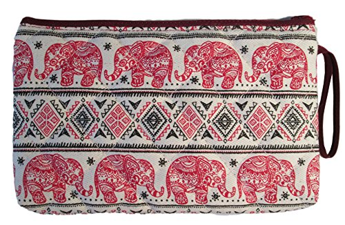 Cosmetic Makeup Pencil Pen Case Pouch Bag Elephant Canvas Unique Handmade (Red)