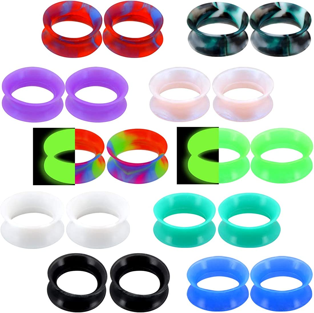 OUFER 20PCS Soft Silicone Ear Gauges Marble Pearlized Flesh Tunnels Plugs Stretchers Expander Double Flared Flesh Tunnels Ear Piercing Jewelry