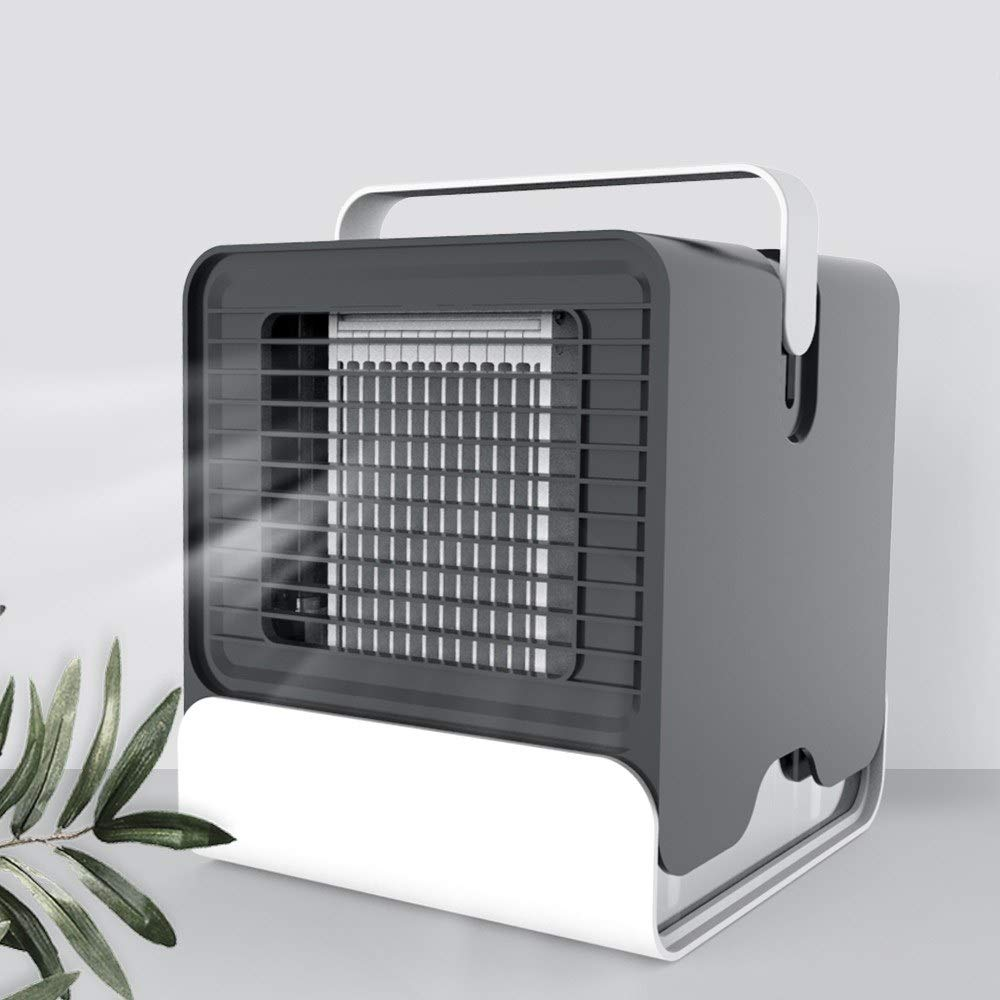 JoyShopping Mini Portable Air Conditioner Fan USB Desktop Air Cooler Office Dormitory Cooling Mobile Fan with LED Lights Black CN - by JoyShopping
