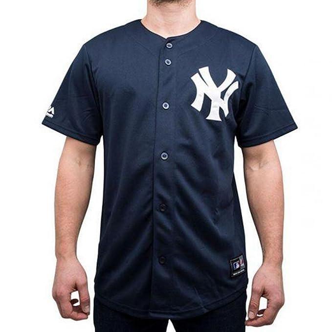 Majestic T-Shirt MLB New York Yankees Jerseey Blu Bianco Formato  XXL ( 518c0e2fe57d