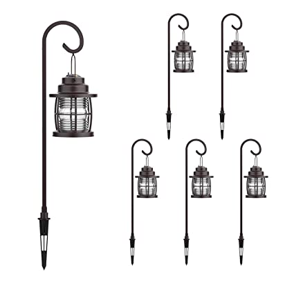 GOODSMANN Harbor Collection 6 Pack LED Pathway Light LED Low Voltage  Landscape Lighting, Hanging Pathway Lights Dual Use Shepherd Hook Lights  for