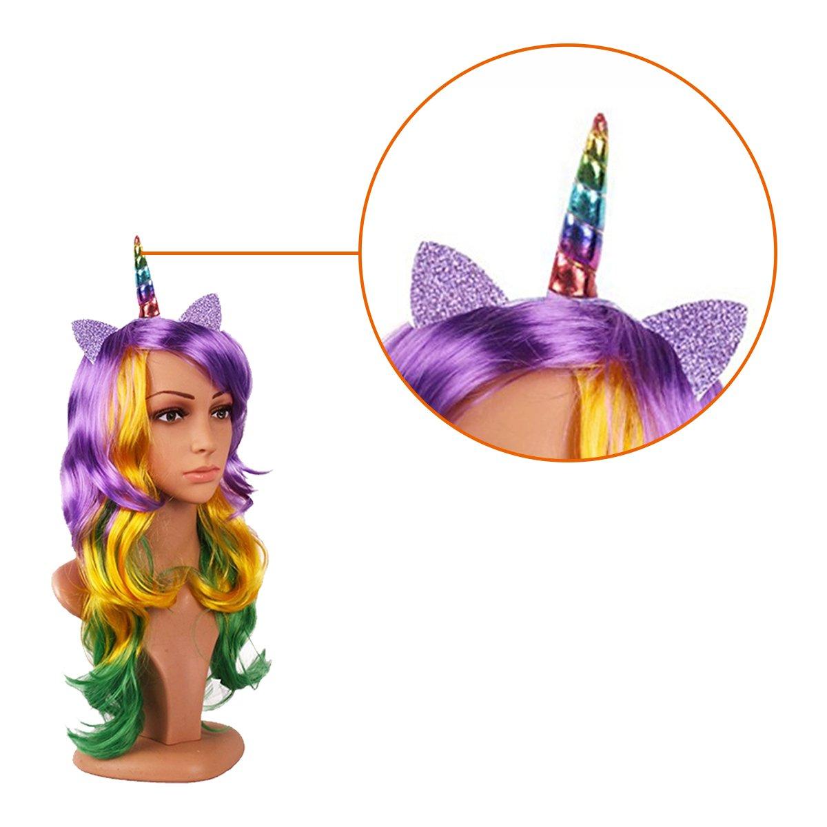 Widmann unicornio banda de cabello con Orejas y cuerno látex de Cosplay para la fiesta de cumpleaños Fantasía: Amazon.es: Belleza