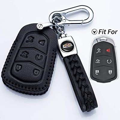 Hey Kaulor Genuine Leather 2015-2020 Cadillac Escalade Remote Key fob Cover Leather Cadillac Escalade Key fob case Holder only for 6 Buttons: Automotive [5Bkhe1506258]